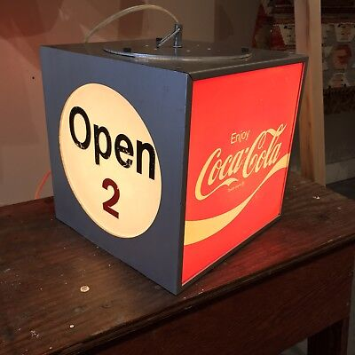1970s Lighted Motorized Coke Sign Advertising Coca-Cola