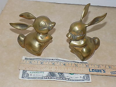 2 Solid Brass Bunny Rabbit Vintage Animal Figurine-Paperweight-Made in Korea