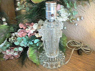 Table Lamp Art Deco Electric Light Antique 1920's EAGP Pressed Glass Home Decor