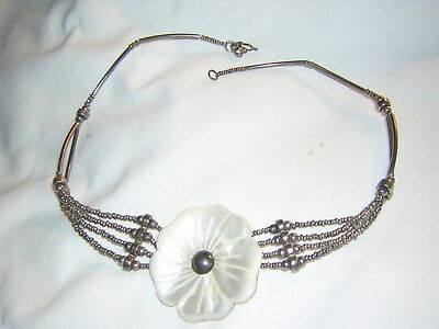 Antique .950 Silver Necklace with Mother-of-Pearl Flower Pendant ~ Unique Clasp