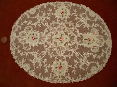 1 SUPERB OVAL Antique VTG SCHIFFLI PETIT POINT EMBROIDERY NET LACE DOILY  BASKET