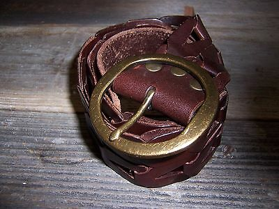 """Women's Brown Leather 2"""" wide Belt with Brass Buckle size S/M boho style"""
