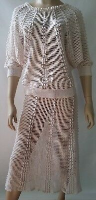 PHILLIPINO TREASURES vintage ladies size 12 14 crochet outfit skirt top set