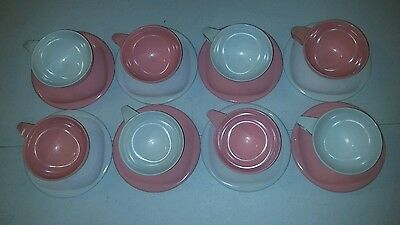 Vintage Boonton Ware Melmac Dishes  Pieces Cups Saucers Dessert Plates Usa