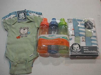 Gerber Newborn Boys 16 Piece Gift Set NEW Onesies, Washcloths, Bottles Evenflo