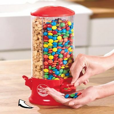 Rotating 3-Way Candy Snack Plastic Dispenser Candy Gum Nuts  M&Ms Container