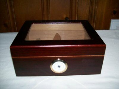 Humidor Cherry Finish Cigar Box With Hygrometer And Humifier….New
