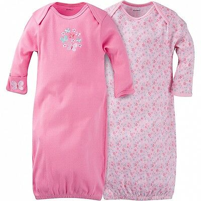 Gerber Girls Lap Shoulder Gowns 2 Pack NEW Butterfly Size 0-6 Months