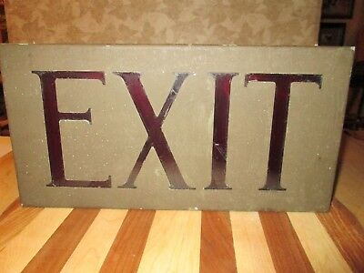 Vintage metal and red glass box EXIT sign old red bulbs industrial