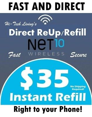 $35 NET10 FAST REFILL DIRECT ELECTRONIC to PHONE > 25yr TRUSTED USA SELLER  <