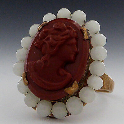 Old! Antique Vintage Victorian Cameo Beaded Ring Adjustable Size 9