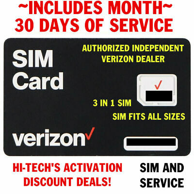 Verizon SIM CARD w/ DOUBLE DATA !  INCLUDES $40 PLAN 1ST MONTH >TRUSTED DEALER <