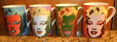 New 1997 Block Andy Warhol Marilyn Monroe Coffee Tea Cups Mugs Set Of 4