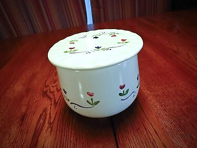 Levine Pottery - Butter Crock with Floral Motif  - Beautiful 1988 - Richmond CA