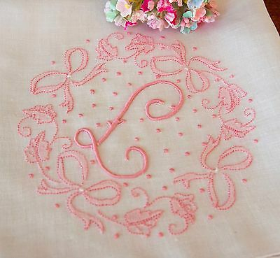 Vintage Madeira Hanky Monogram L Hand Embroidered w/ Pink Bows