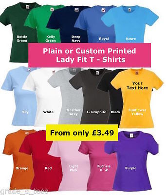 Plain or Printed Personalised Lady Fit T Shirts Hen Race Birthday Party Charity
