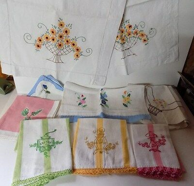 Vintage Hand Embroidered Table Runner Hand Towels