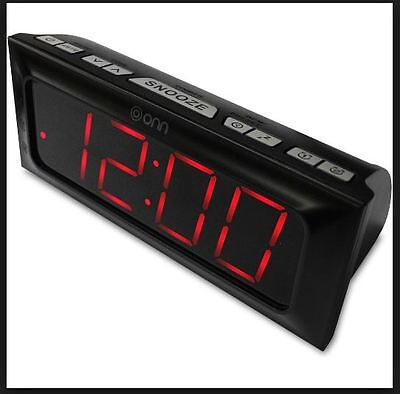 Onn Digital Am/Fm Clock Radio Snooze / Dual Alarms Battery Backup