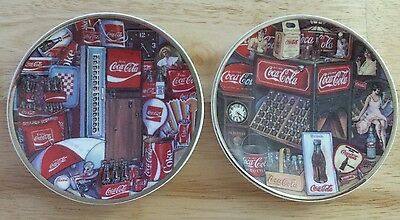 "2 Coca Cola 4 1/8"" Mini Plates Eras of Coke #169889 & #169862 Enesco 1995 - RARE"
