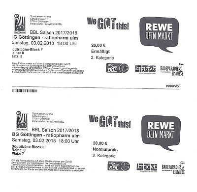 Basketball Tickets BG Göttingen gegen ratiopharm Ulm