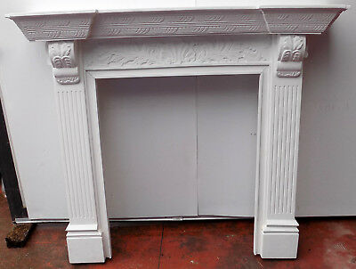 Frame for Fireplace wood mahogany solid wood cm142x28x125h baroque white inta