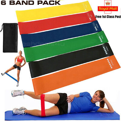 Set of 6 Resistance Exercise Loop Bands Yoga Pilates Fitness Natural Latex