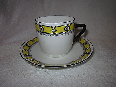 Art Deco Foley Yellow / White  With Daisy Band  Tea  Cup Saucer