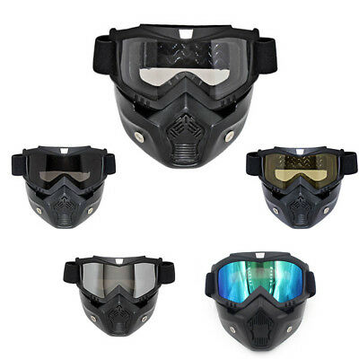 Racing Detachable Modular Motorcycle Protective Face Mask Shield Goggles new