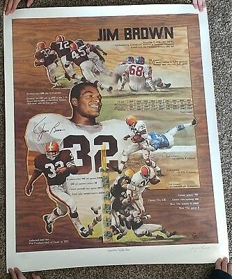 Sale Jim Brown Lithograph Cleveland Browns Free Shipping