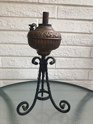 Antique Ornate Wrought Iron Brass TINY MILLER Oil Parlor Lamp Stand