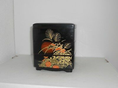 JEWELRY BOX Lacquerware Asian-Style  - STACKABLE 3 tiers with lid Vintage