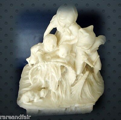 Marble large and heavy hand carved vintage statue of young children