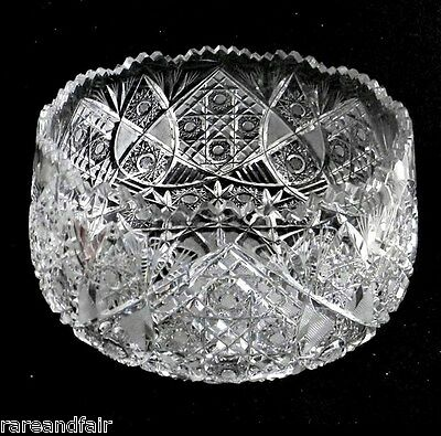 Hawkes Gravic clear crystal LARGE bowl with sawtooth rim - FREE SHIPPING