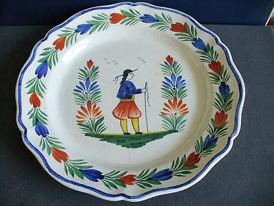 Quimper very large platter with hp designs -dated 1916