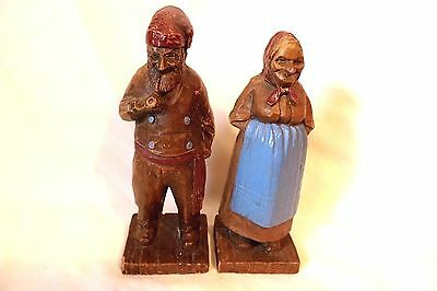 """Vintage Composite Wood Old Woman & Man with Pipe Figurines 7 1/2"""" tall"""
