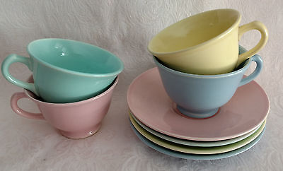LuRay TS&T Cups & Saucers - FOUR SETS  One Each   Yellow Green Pink Blue - 8 Pcs