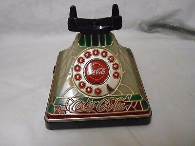 Coca-Cola Stained Glass Telephone Lightened Up Phone Push Up Button New In Box