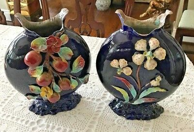Antique English Salopian Art Benthall Pottery Co. Moon Flasks with Raised Work