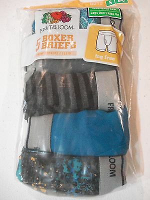 Fruit of the Loom Boys Boxer Briefs NEW 5 Pack Size Small 6-8 Print Stripes