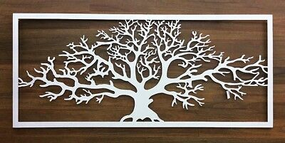 Tree Of Life Wall Art Rectangle Metal Hanging Screen Sign Sculpture 145Cm White
