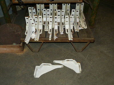 Pair of White Porcelain Enamel Cast Iron Shelf Brackets Industrial Antique Sink