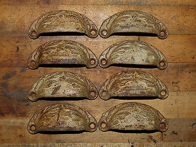 Lot of 8 Matching Cast Iron Bin Pulls Leaf Ornament Victorian Drawer Hardware