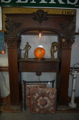 Monumental Quarter Sawn Oak Fireplace Mantle Puti Fleur-de-lis