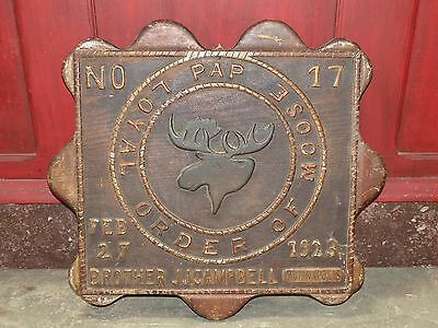 1923 Folk Art Hand Carved Wood Loyal Order Of Moose PAP Plaque Indianapolis