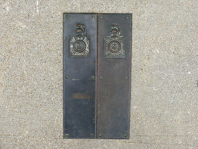 Large Pair Cast Bronze Push Plates Knights Templar In Hoc Signo Vinces Masonic