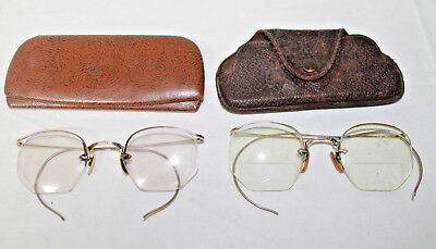 2 Vintage AO American Optical 1/10 12K GF Gold Filled Wire Eye glasses & Cases