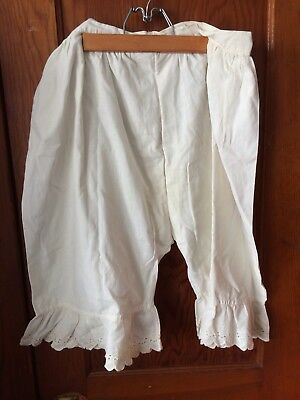 Antique Woman's Bloomers Pantaloons - White Cotton & Eyelet - 1 Button Closure