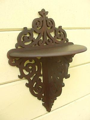Antique Victorian Scroll Work Walnut Wall Clock Shelf Fancy Details Square Nails