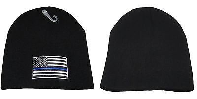 899a29392 THIN BLUE LINE USA Flag Knit Skull Cap Hat Beanie Support Police Law  Enforcement