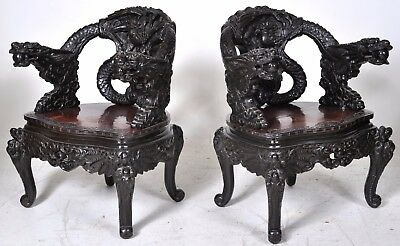 Pair fine antique carved rosewood Chinese Qing dynasty export dragon chairs  1890 - PAIR FINE ANTIQUE Carved Rosewood Chinese Qing Dynasty Export Dragon